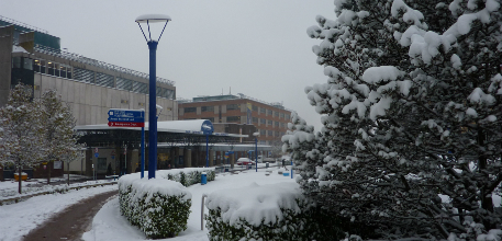 Snow on hospital site