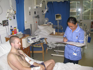 Patient Rob with staff nurse