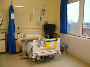 Patient bed on ward E4