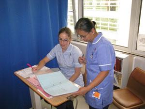 Student nurse with staff nurse Chrisie
