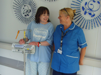 Cardiac patient Jo Brooker and Nurse Specialist Lynda Tellett
