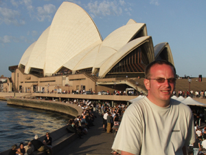 Jonathan Upton in front of Sydney Opera House
