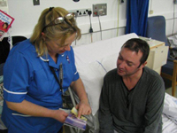 Nurse specialist Lynda Tellett and patient Stephen