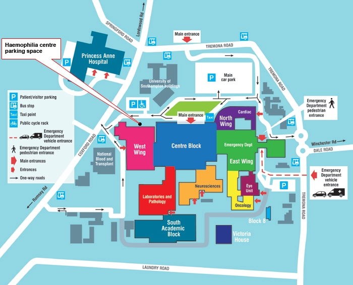 Southampton General Hospital Map Haemophilia and bleeding disorders