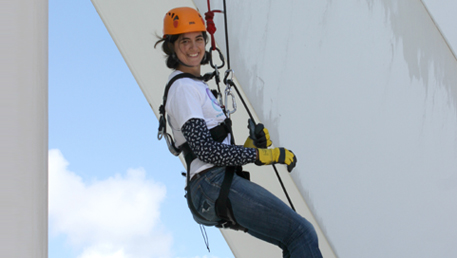 Fiona Dalton-abseiling down the Spinnaker Tower
