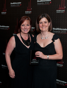 Ruth Poole and Emma Bowyer win the HealthInvestor award for public/private partnership of the year